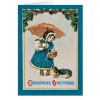 Navidad chica del vintage y tarjeta de los