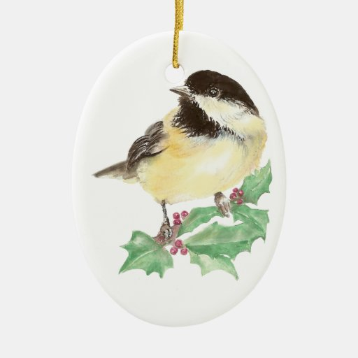 Navidad Chickadee lindo, pájaro, fauna del acebo Adorno Navideño Ovalado De Cerámica