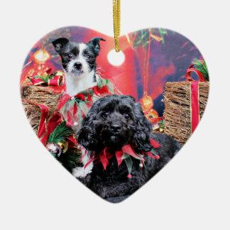 Navidad - ChihShih - Libby y Cockapoo - Bailey Adorno De Cerámica En Forma De Corazón