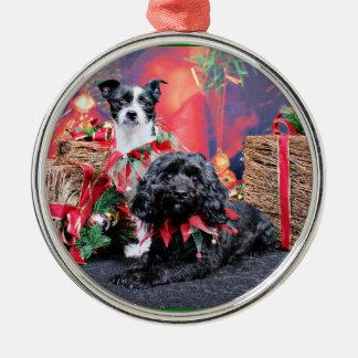 Navidad - ChihShih - Libby y Cockapoo - Bailey Adorno Redondo Plateado