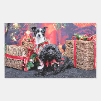 Navidad - ChihShih - Libby y Cockapoo - Bailey Pegatina Rectangular