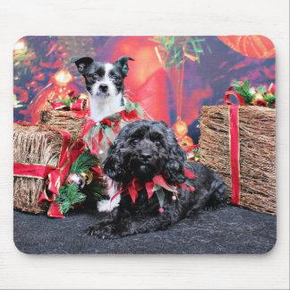 Navidad - ChihShih - Libby y Cockapoo - Bailey Alfombrillas De Ratones