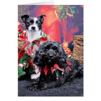 Navidad - ChihShih - Libby y Cockapoo Bailey Tarjeta De Felicitación