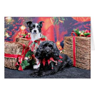 Navidad - ChihShih - Libby y Cockapoo Bailey Tarjeta Pequeña