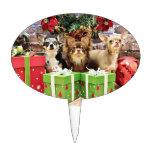 Navidad - chihuahua - azul - muy - yogui decoraciones para tartas
