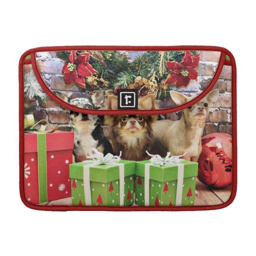 Navidad - chihuahua - azul - muy - yogui fundas para macbook pro