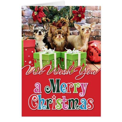 Navidad - chihuahua - azul - muy - yogui tarjeta de felicitación