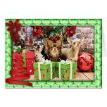 Navidad - chihuahua - azul - muy - yogui tarjeta