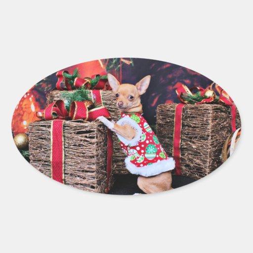 Navidad - chihuahua - Matty Colcomanias Ovaladas Personalizadas