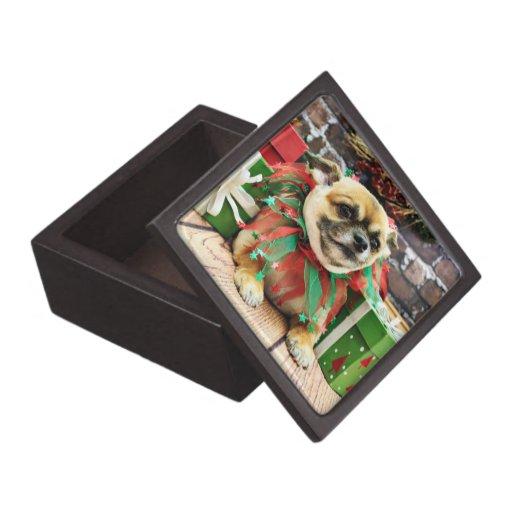 Navidad - chihuahua - punto caja de recuerdo de calidad