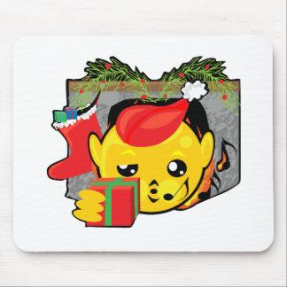 navidad chimenea y presentes sonrientes alfombrillas de ratones