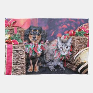 Navidad - Chiweenie - Titus - gatito Toallas De Cocina