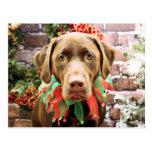 Navidad - chocolate Labrador - Hershey Postales