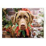 Navidad - chocolate Labrador - Hershey Tarjeton