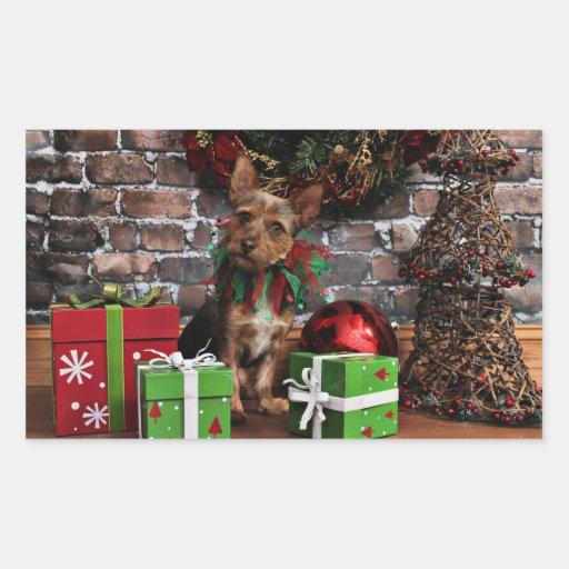 Navidad - Chorkie - Toby Pegatina Rectangular