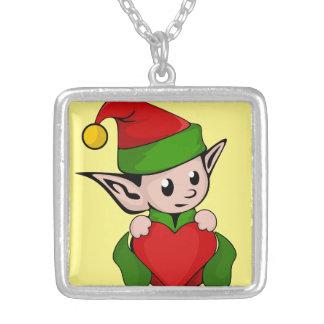 navidad chuchería, navidad, ángel, dulce, collar plateado