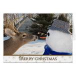Navidad ciervos y muñeco de nieve tarjeta de felicitación
