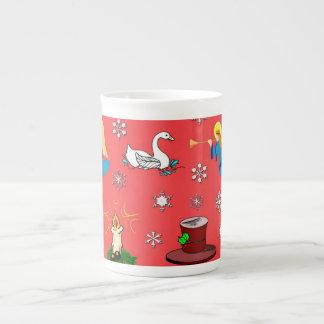 Navidad - cisnes y sombreros de copa blancos de Br Tazas De Porcelana