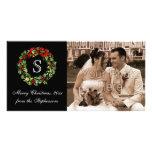 Navidad clásico de la guirnalda del acebo del tarjetas fotograficas personalizadas