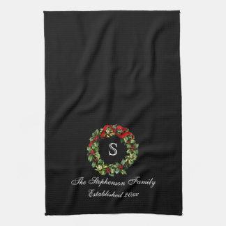 Navidad clásico del personalizado de la guirnalda toalla de cocina
