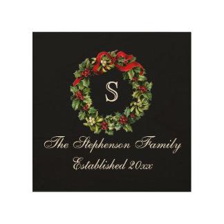 Navidad clásico del personalizado de la guirnalda impresión en madera
