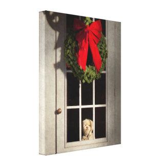 Navidad - Clinton NJ - perrito del navidad Lona Estirada Galerias