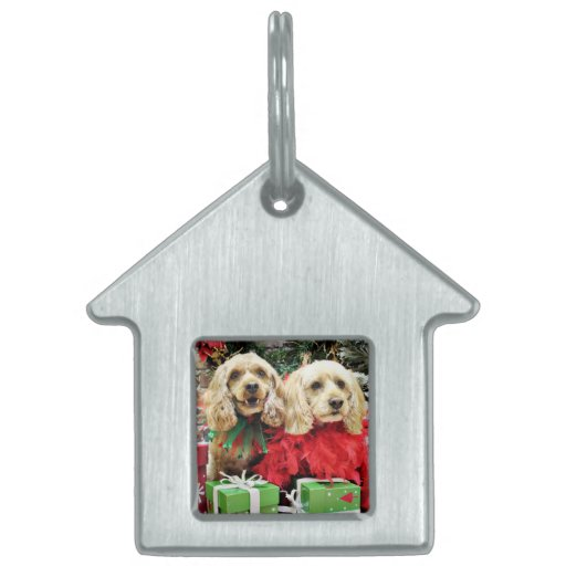 Navidad - Cockapoo - azúcar y especia Placas De Mascota