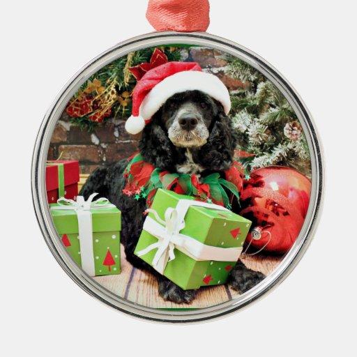 Navidad - Cockapoo - Baxter Adorno Redondo Plateado