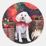 Navidad - Cockapoo - Casey Etiquetas Redondas