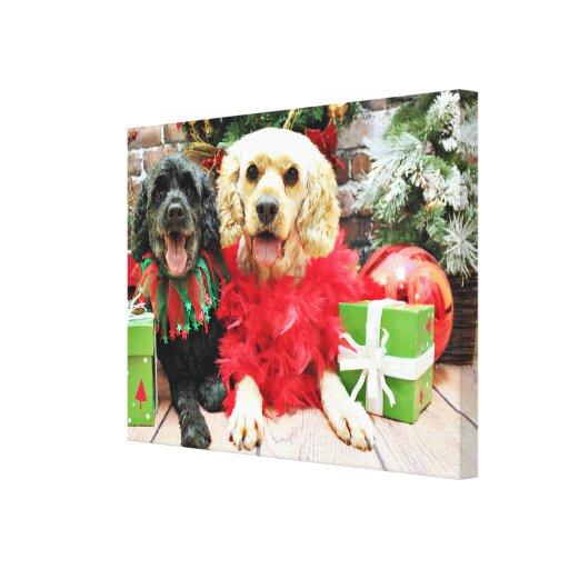 Navidad - Cockapoo - polvoriento y rocoso Impresión En Lona Estirada
