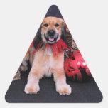 Navidad - cocker de oro - LIL Pegatinas De Triangulo Personalizadas