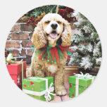 Navidad - cocker spaniel - pecas pegatina redonda