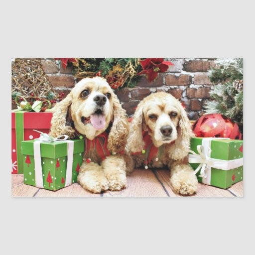 Navidad - cocker spaniel - pecas y Mollie Rectangular Pegatina