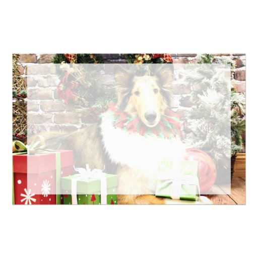 Navidad - collie - haba papelería personalizada
