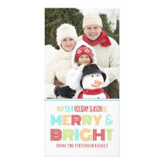 Navidad colorido de la tarjeta feliz y brillante d tarjetas con fotos personalizadas