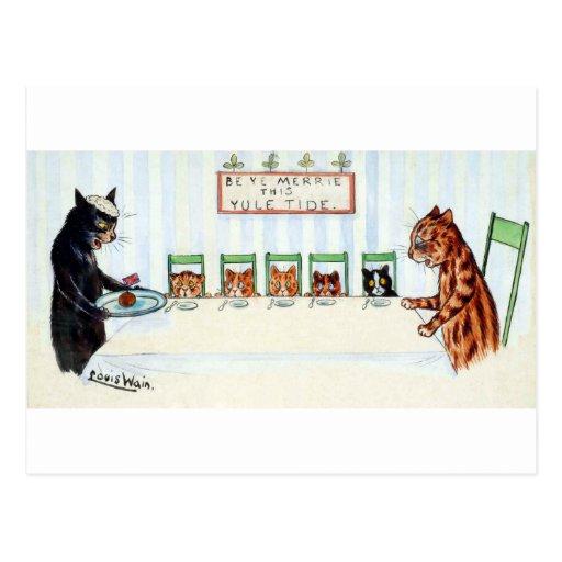 Navidad comida, Louis Wain Tarjeta Postal