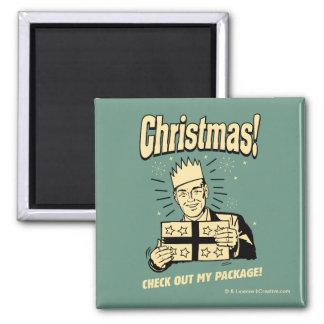 Navidad: Compruebe hacia fuera mi paquete Imán Cuadrado