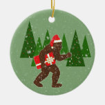 """""""Navidad con Bigfoot"""" Adorno Redondo De Cerámica"""