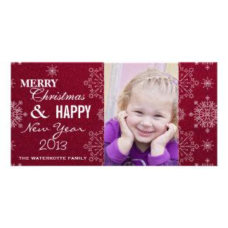 Navidad con clase del copo de nieve y Años Nuevos  Tarjetas Fotograficas Personalizadas