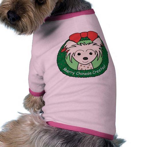 Navidad con cresta chino camisetas mascota