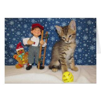 Navidad con el Gato-itude Tarjeta De Felicitación