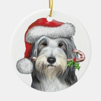 Navidad con jazz el collie barbudo adorno redondo de cerámica