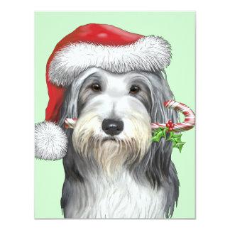 Navidad con jazz el collie barbudo invitación 10,8 x 13,9 cm