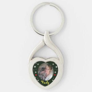 Navidad con llavero del mascota por RoseWrites Llavero Plateado En Forma De Corazón