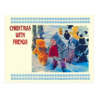 Navidad con los amigos, el niño y los osos de pelu postal
