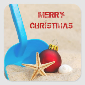 Navidad con playas pegatina cuadrada