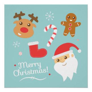 Navidad con Santa, reno, hombre de pan de jengibre Perfect Poster