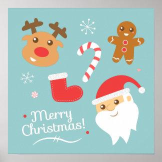 Navidad con Santa, reno, hombre de pan de jengibre Póster