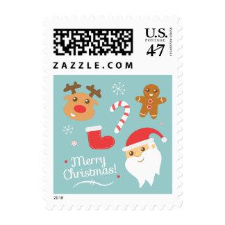 Navidad con Santa, reno, hombre de pan de jengibre Sello Postal