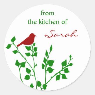 Navidad conocido de encargo del pájaro rojo que pegatina redonda